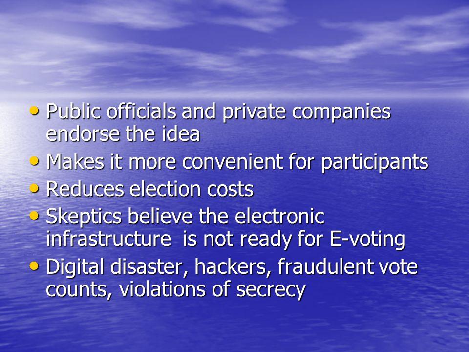 Public officials and private companies endorse the idea