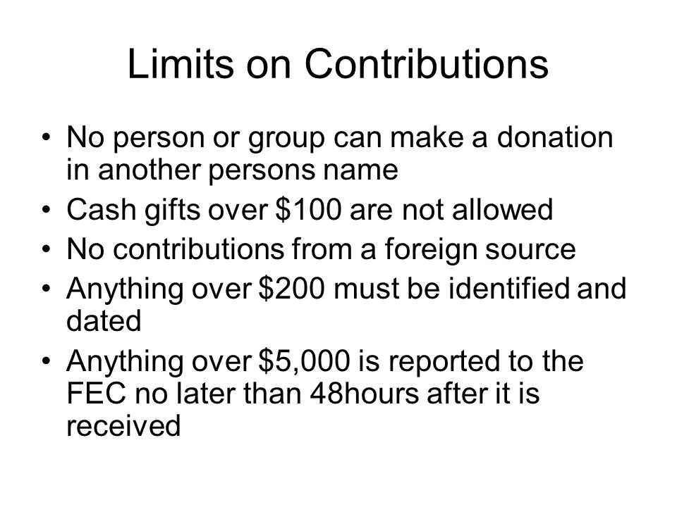 Limits on Contributions