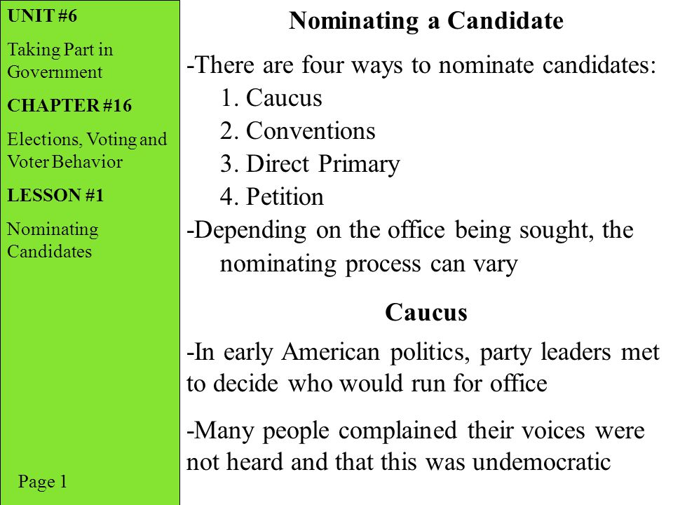 Nominating a Candidate