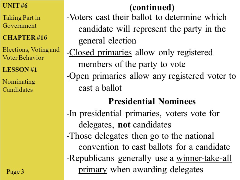 Presidential Nominees