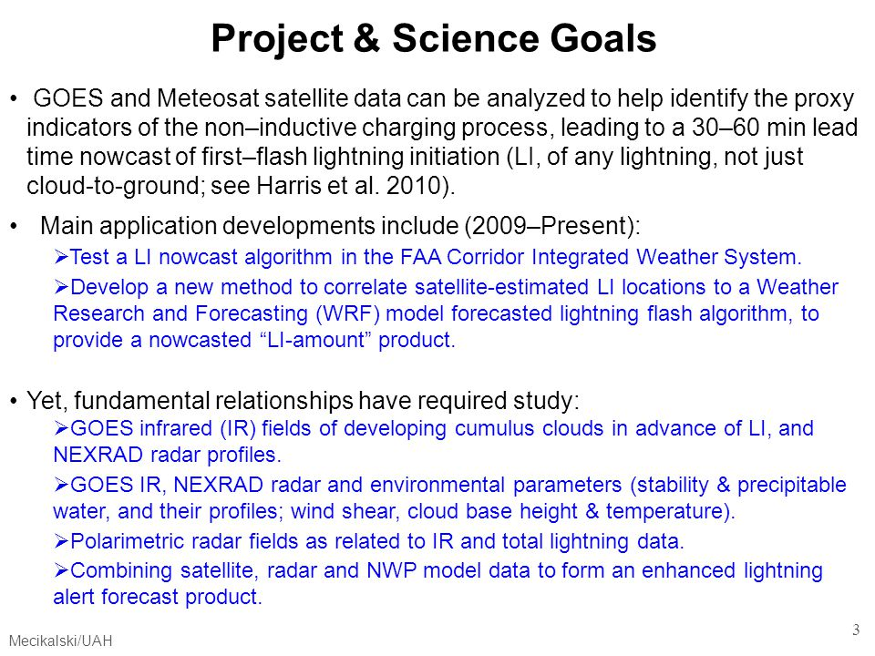 Project & Science Goals