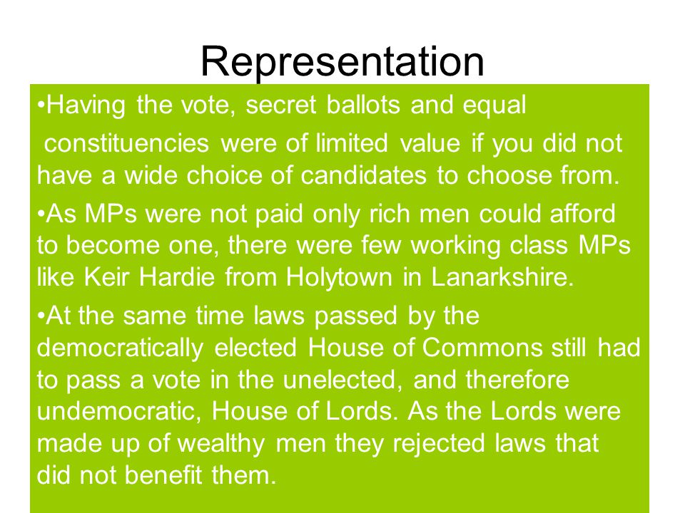 Representation Having the vote, secret ballots and equal