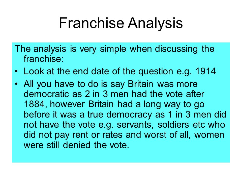 Franchise Analysis The analysis is very simple when discussing the franchise: Look at the end date of the question e.g. 1914.