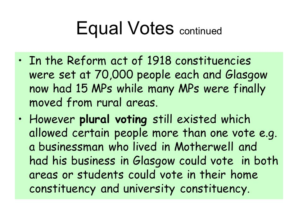 Equal Votes continued