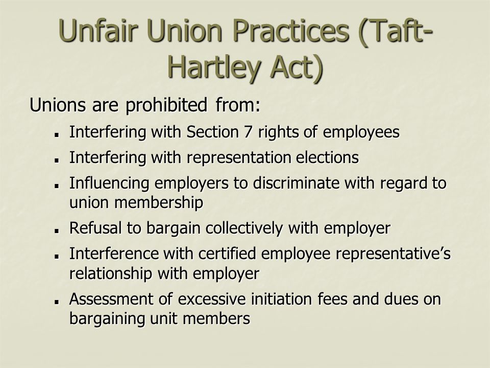 Unfair Union Practices (Taft-Hartley Act)