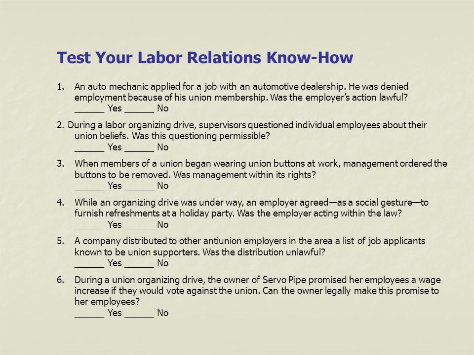 Employer-Employee Relations Quiz