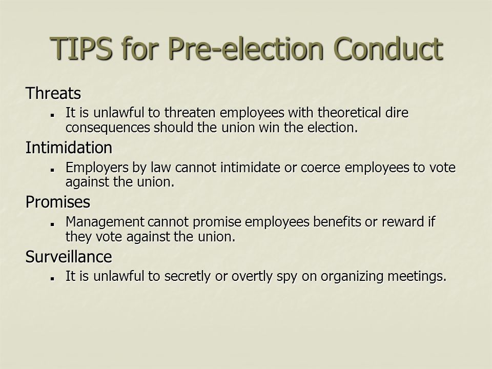 TIPS for Pre-election Conduct