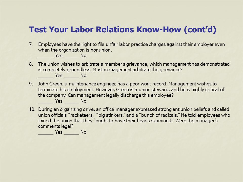 Test Your Labor Relations Know-How (cont'd)