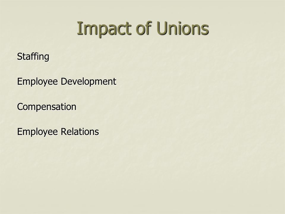 Impact of Unions Staffing Employee Development Compensation