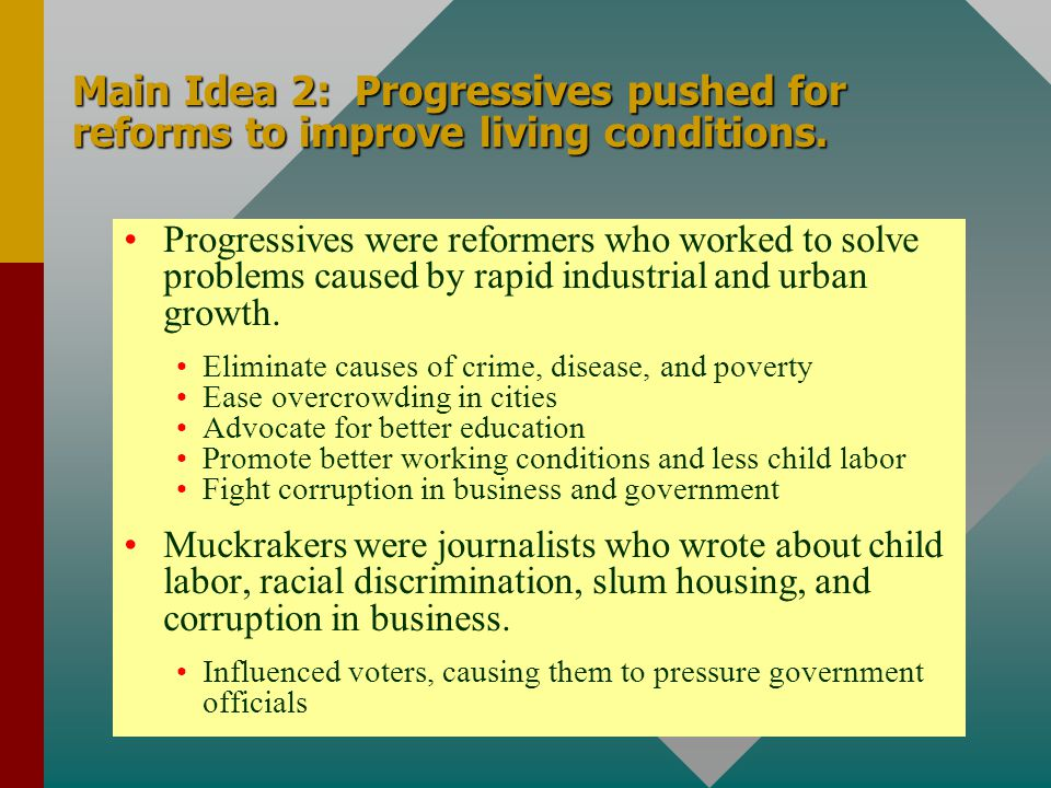 Main Idea 2: Progressives pushed for reforms to improve living conditions.
