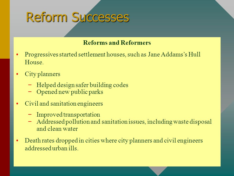 Reform Successes Reforms and Reformers
