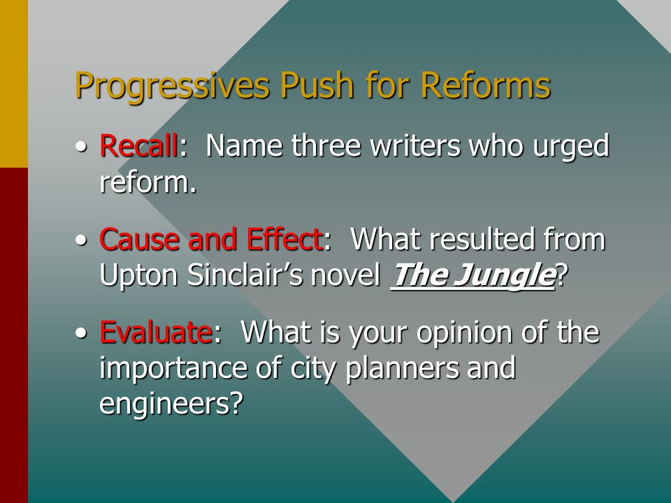 Progressives Push for Reforms
