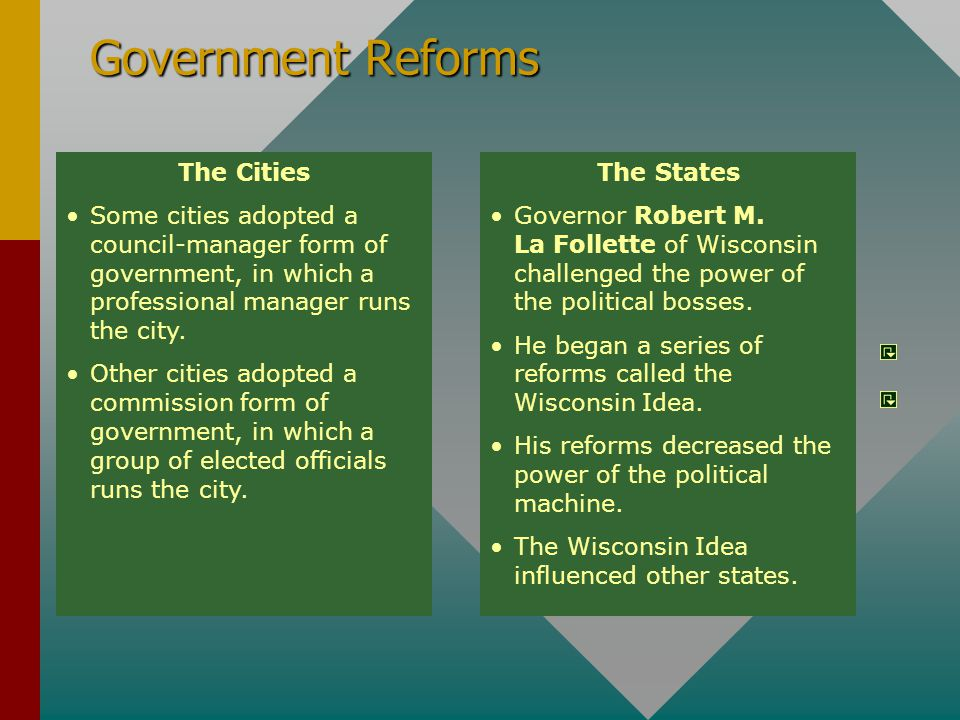 Government Reforms The Cities