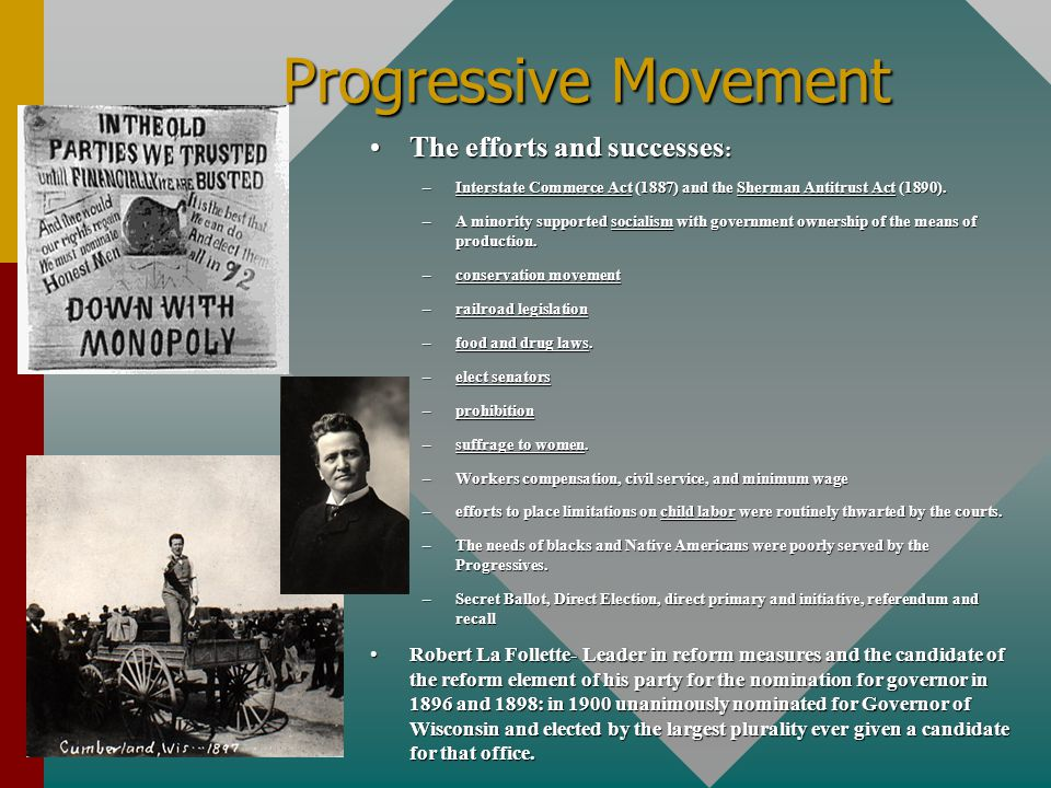 Progressive Movement The efforts and successes: