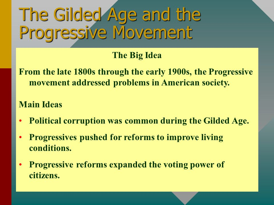 The Gilded Age and the Progressive Movement