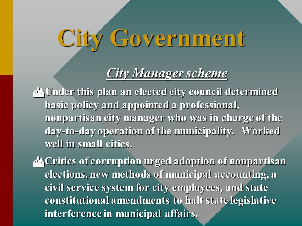 City Government City Manager scheme