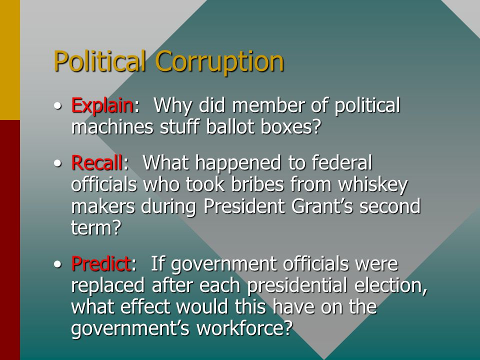 Political Corruption Explain: Why did member of political machines stuff ballot boxes