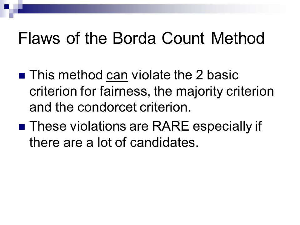 Flaws of the Borda Count Method