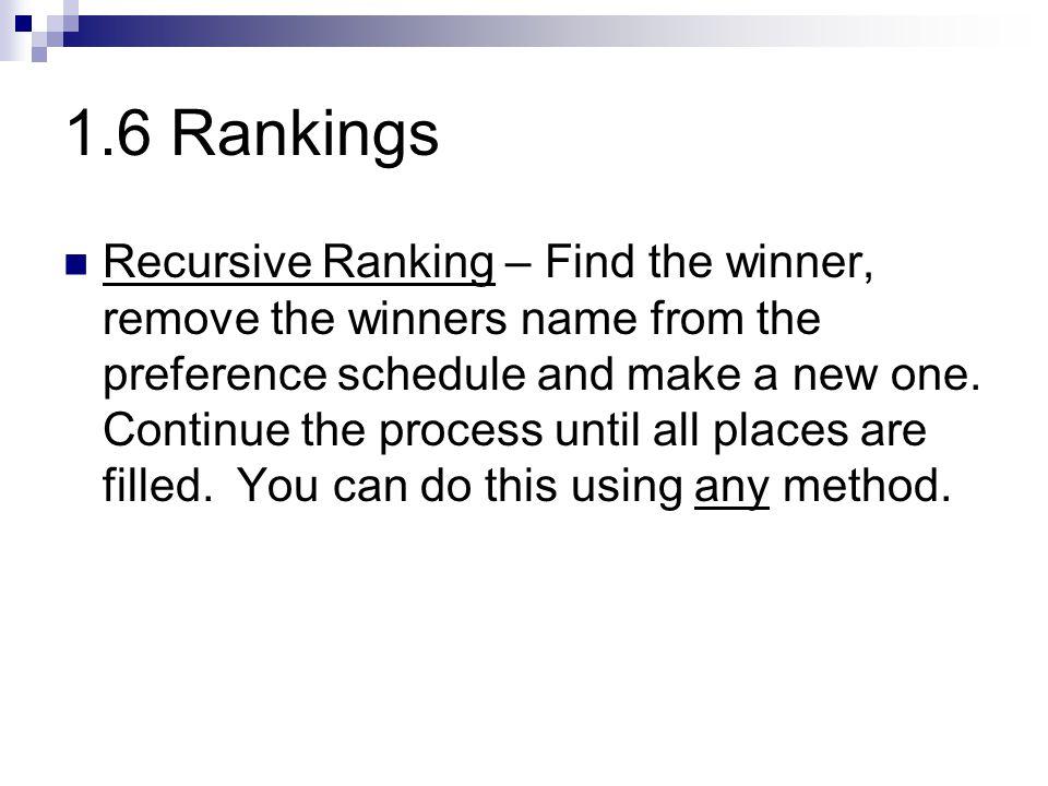 1.6 Rankings