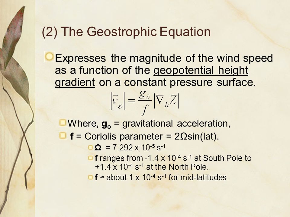 (2) The Geostrophic Equation