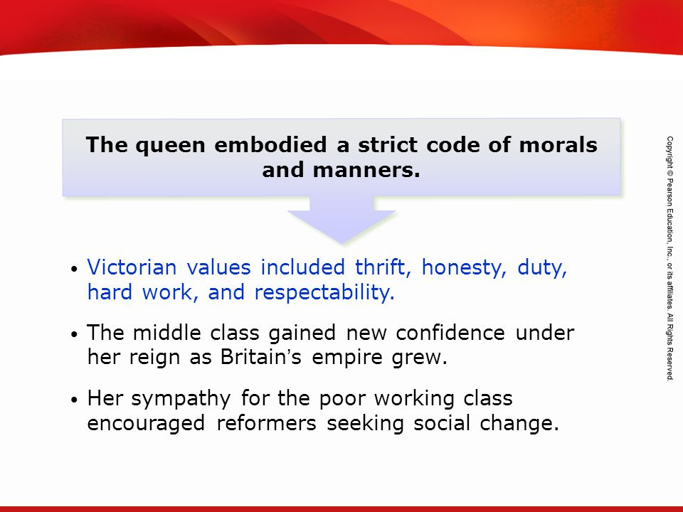The queen embodied a strict code of morals and manners.