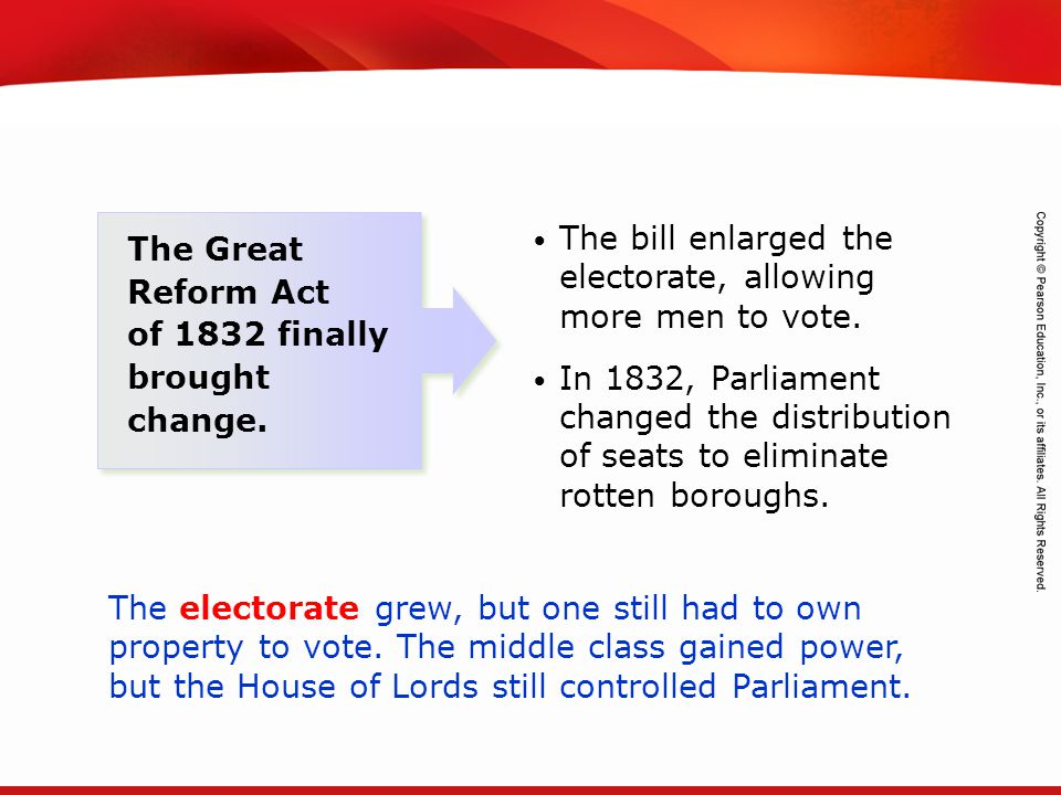 The bill enlarged the electorate, allowing more men to vote.