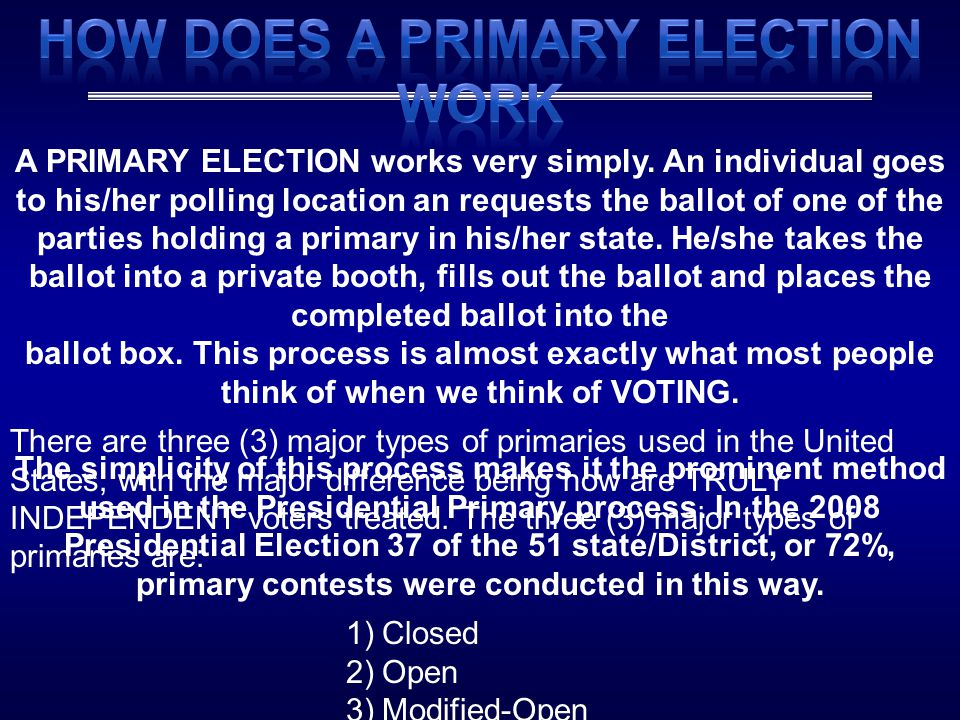 How Does A Primary Election Work