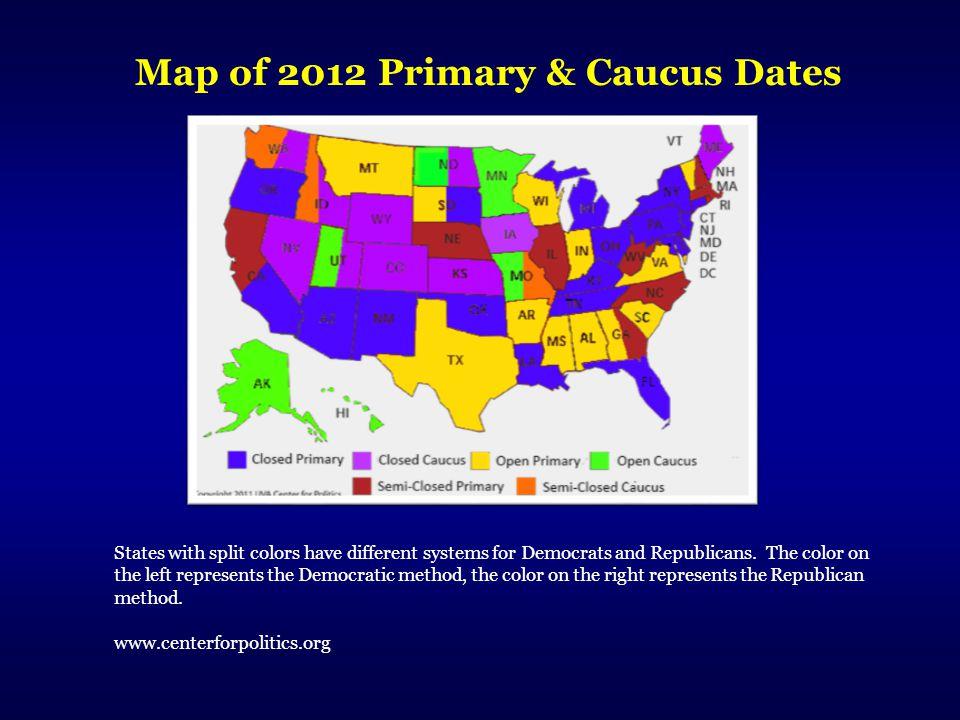 Map of 2012 Primary & Caucus Dates