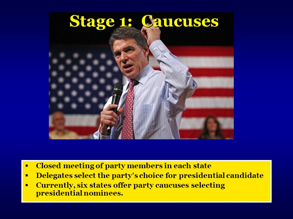 Stage 1: Caucuses Closed meeting of party members in each state