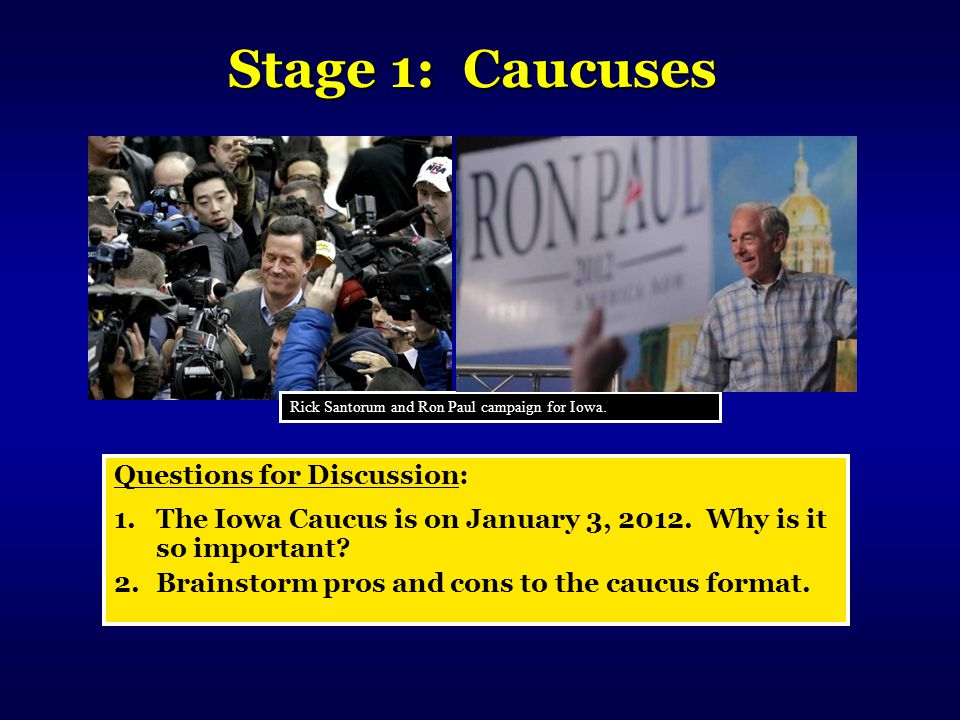 Stage 1: Caucuses Questions for Discussion:
