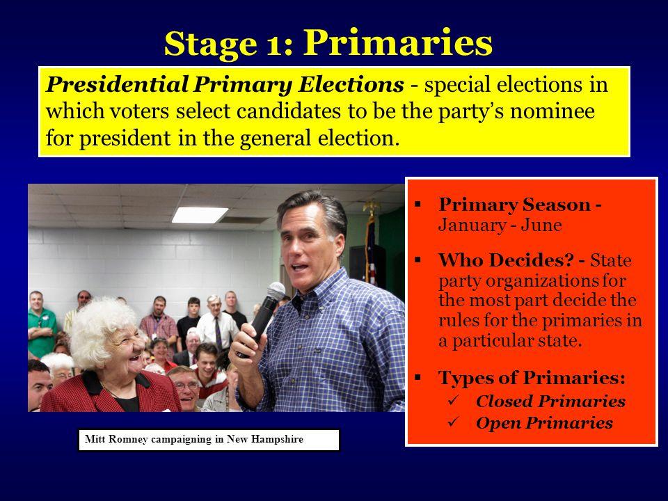 Stage 1: Primaries