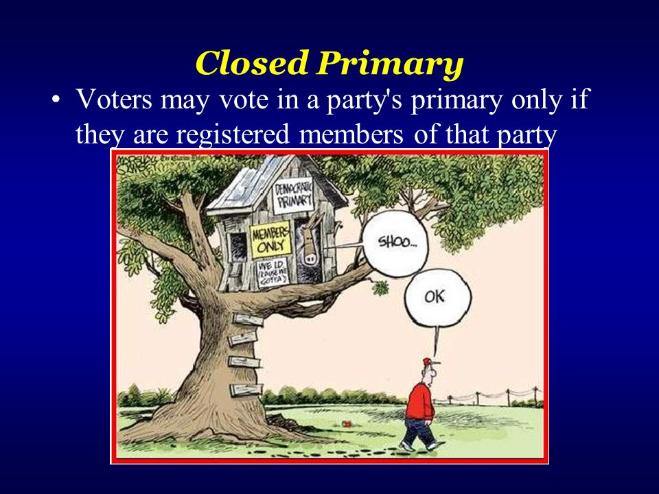 Closed Primary Voters may vote in a party s primary only if they are registered members of that party.