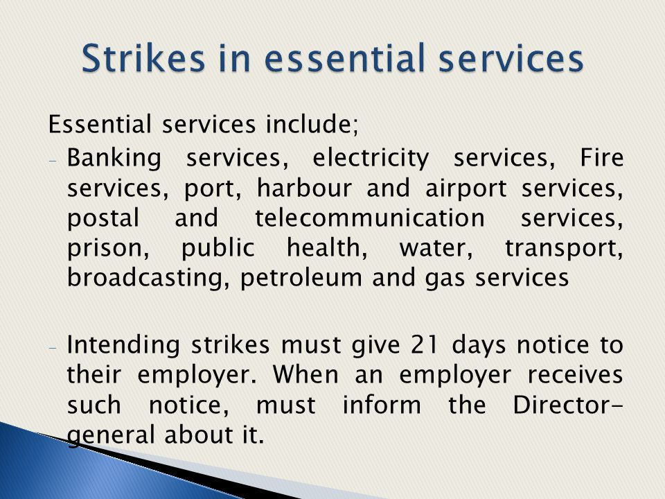 Strikes in essential services