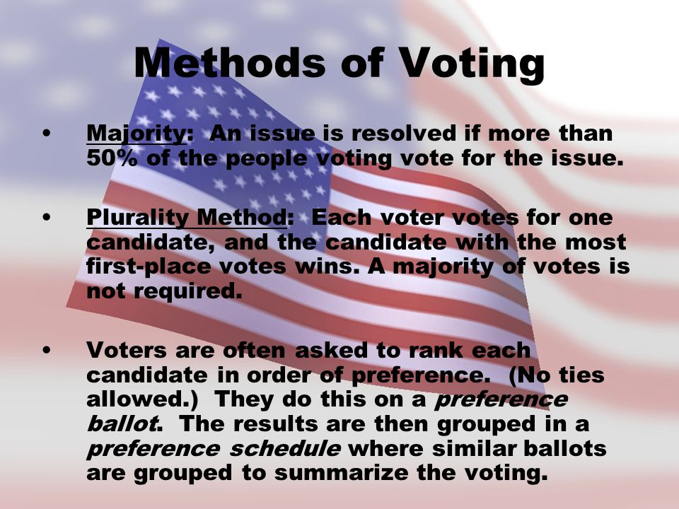 Methods of Voting Majority: An issue is resolved if more than 50% of the people voting vote for the issue.