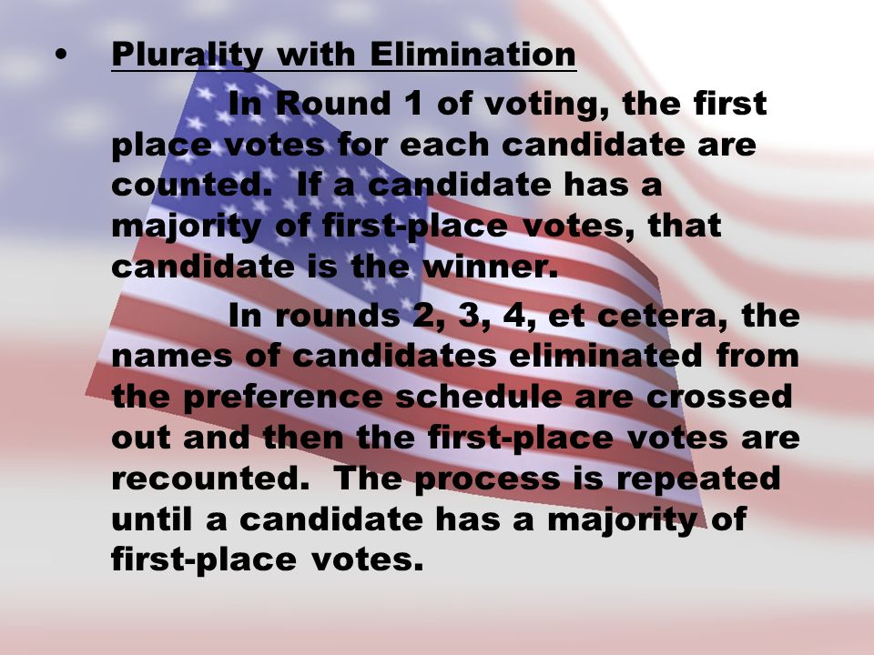 Plurality with Elimination