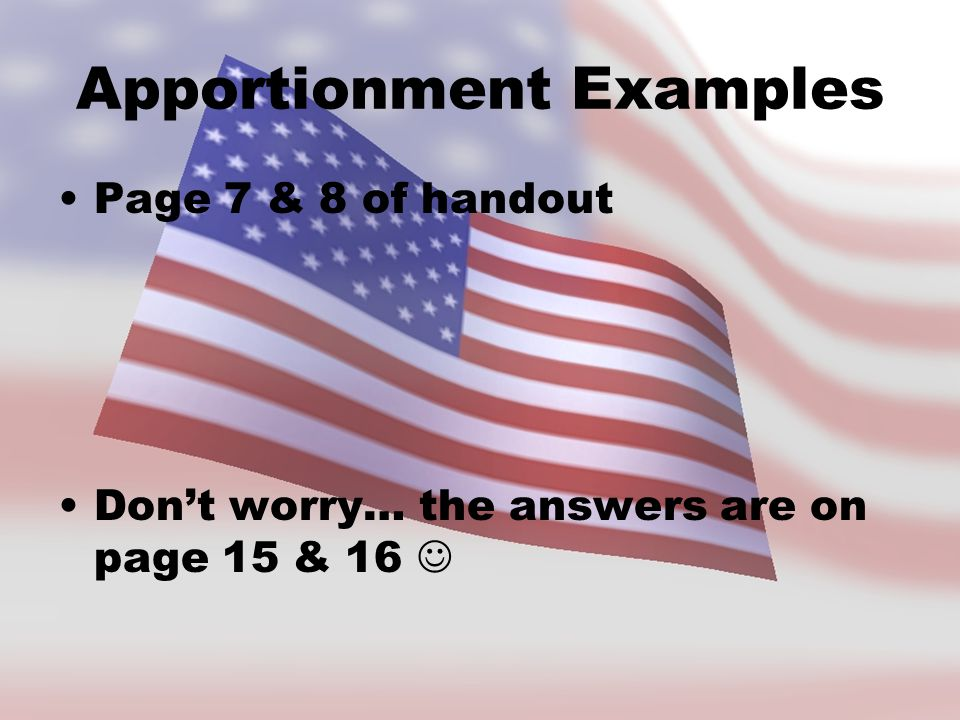 Apportionment Examples
