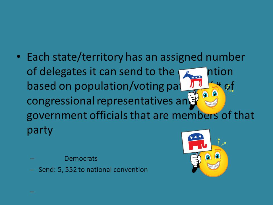 Each state/territory has an assigned number of delegates it can send to the convention based on population/voting patterns/ # of congressional representatives and state government officials that are members of that party