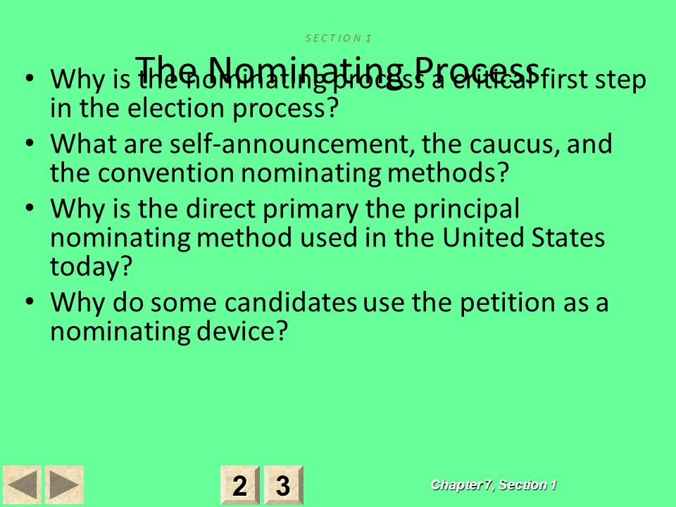 S E C T I O N 1 The Nominating Process