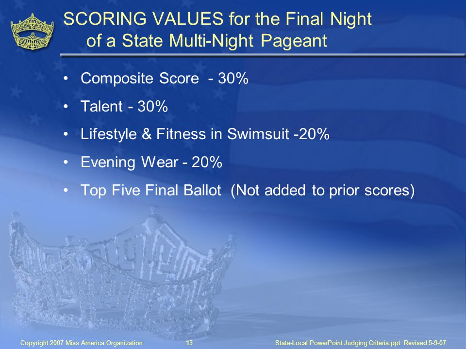 SCORING VALUES for the Final Night of a State Multi-Night Pageant
