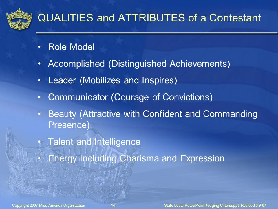 QUALITIES and ATTRIBUTES of a Contestant