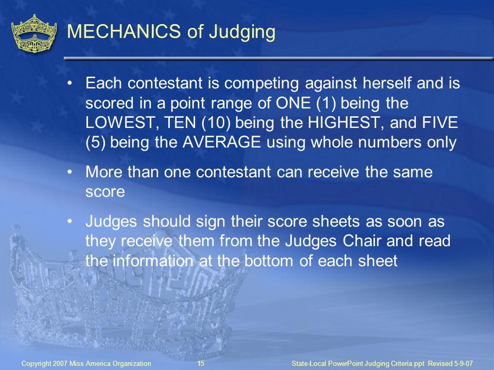 MECHANICS of Judging