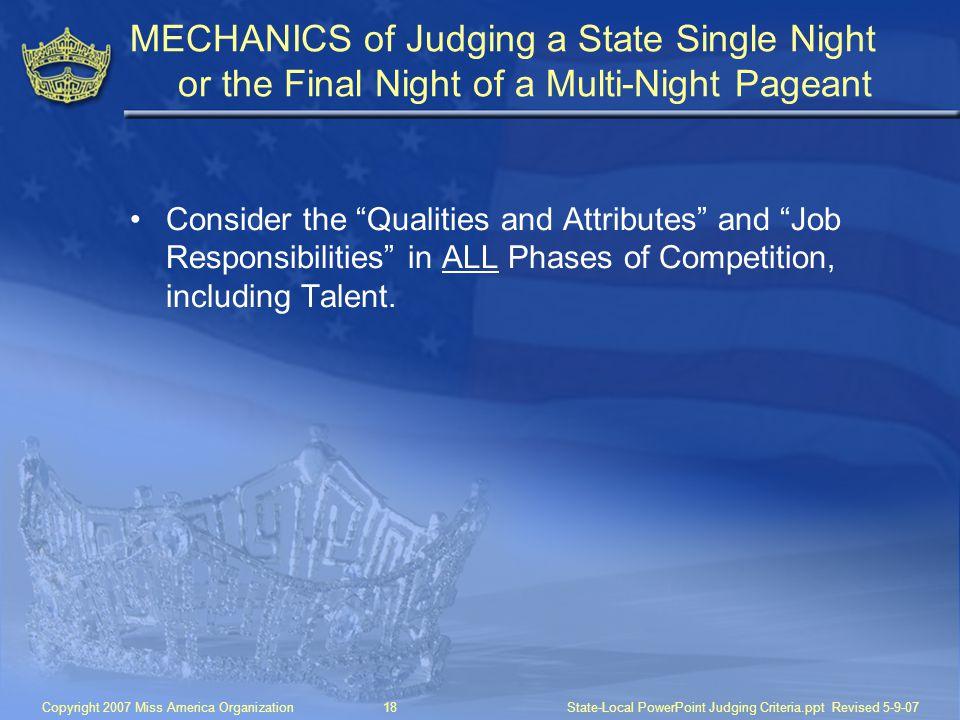 MECHANICS of Judging a State Single Night
