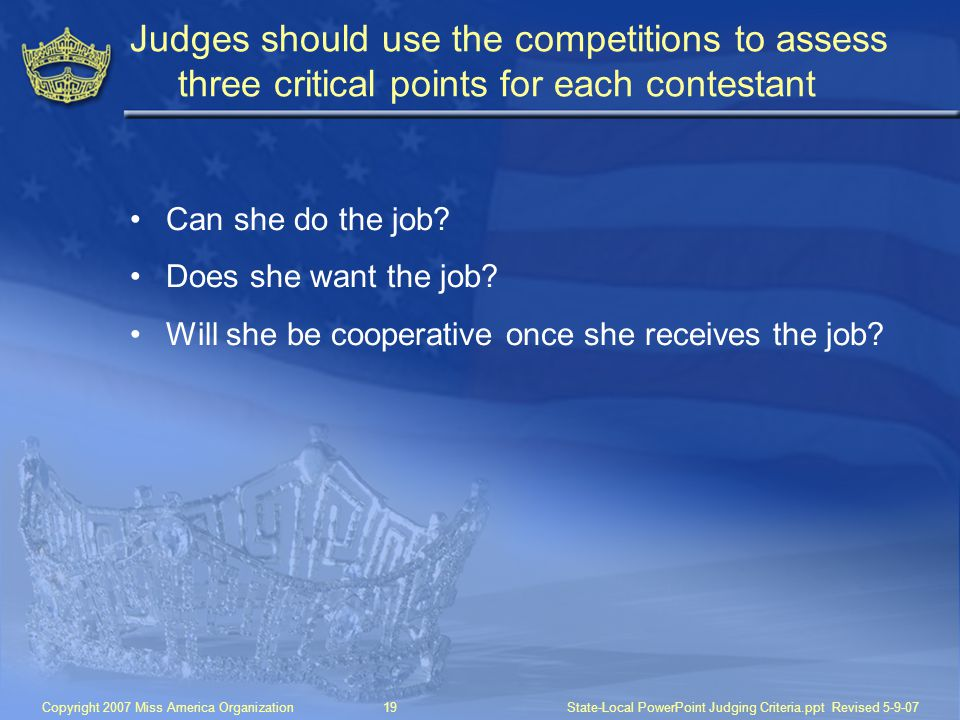 Judges should use the competitions to assess