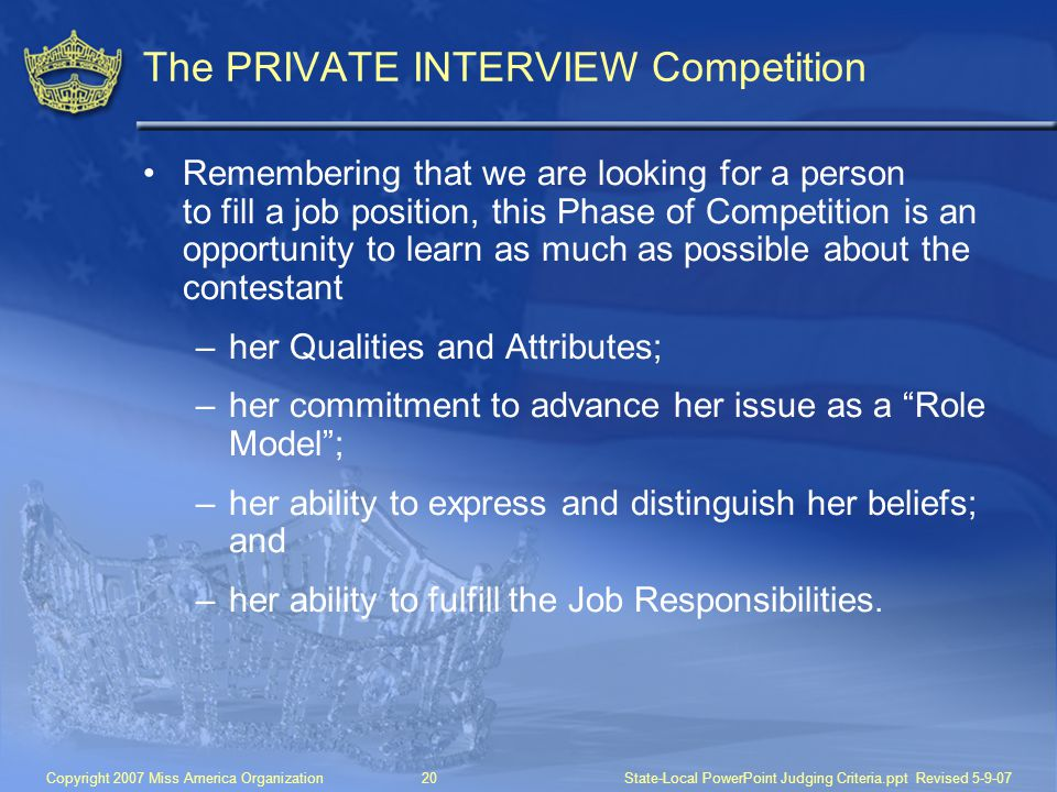 The PRIVATE INTERVIEW Competition