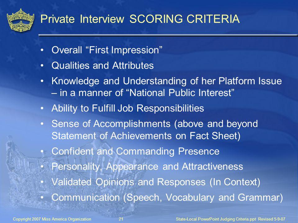 Private Interview SCORING CRITERIA