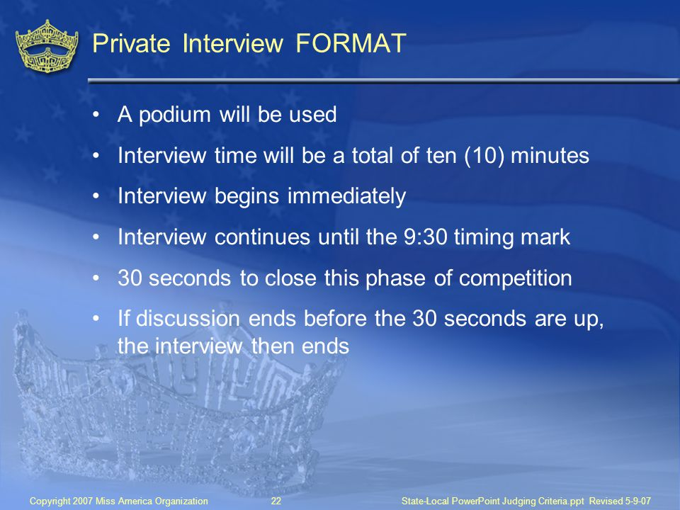 Private Interview FORMAT