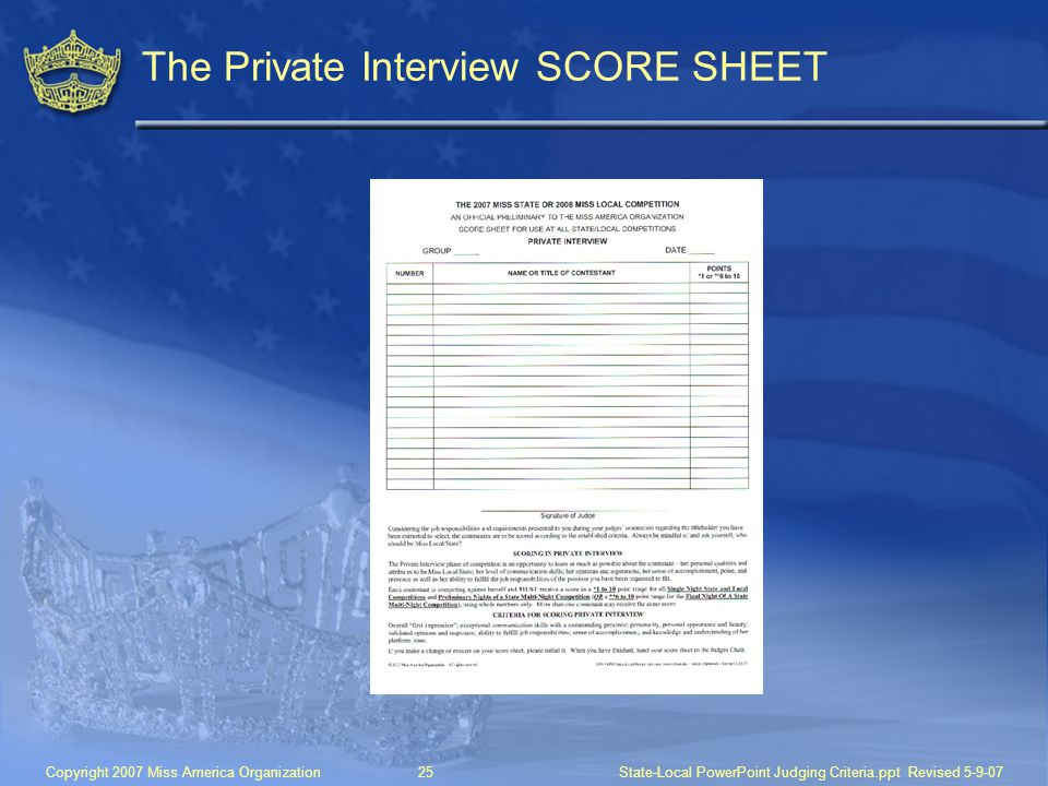The Private Interview SCORE SHEET