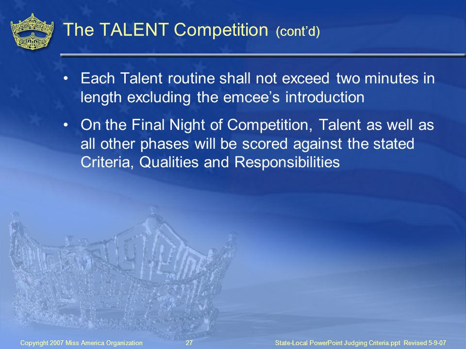 The TALENT Competition (cont'd)