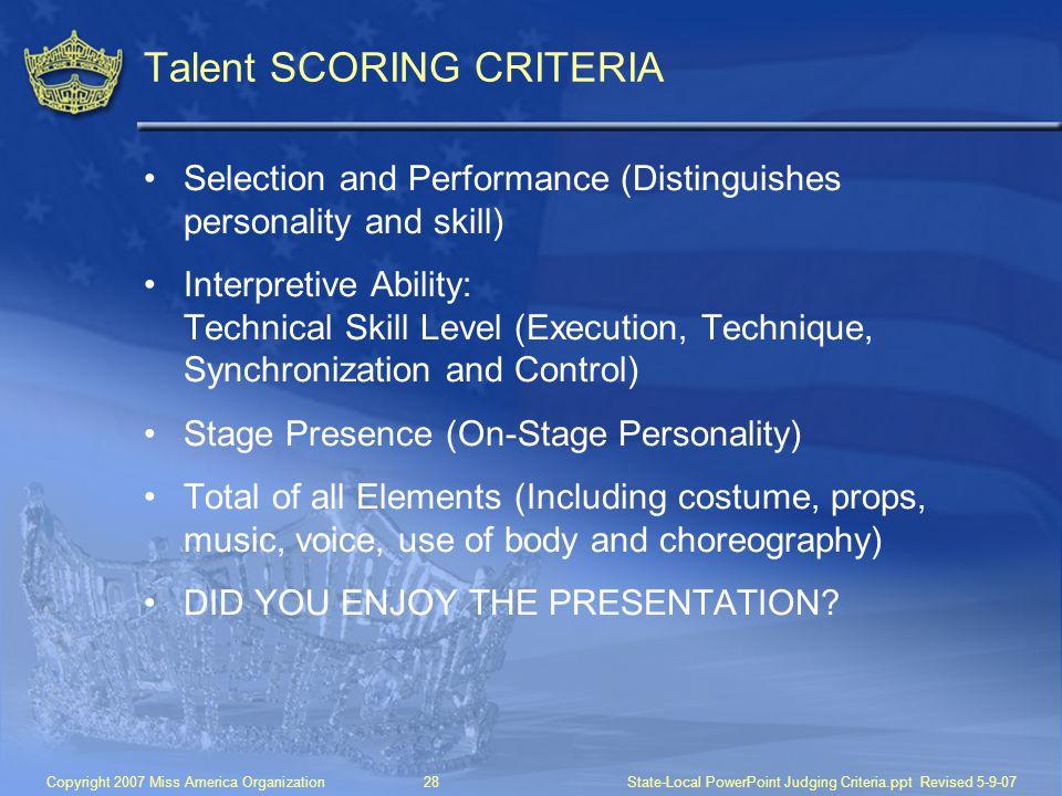 Talent SCORING CRITERIA