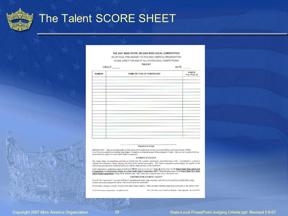 The Talent SCORE SHEET